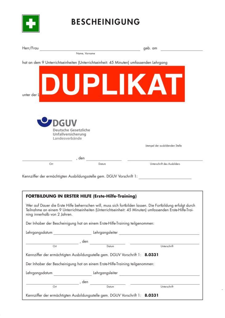 Ersatzbescheinigung - Praevencio | Erste-Hilfe-Kurse